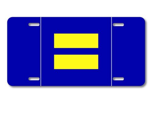 Ships from USA Aluminum License Plate Blue Yellow Equality Symbol