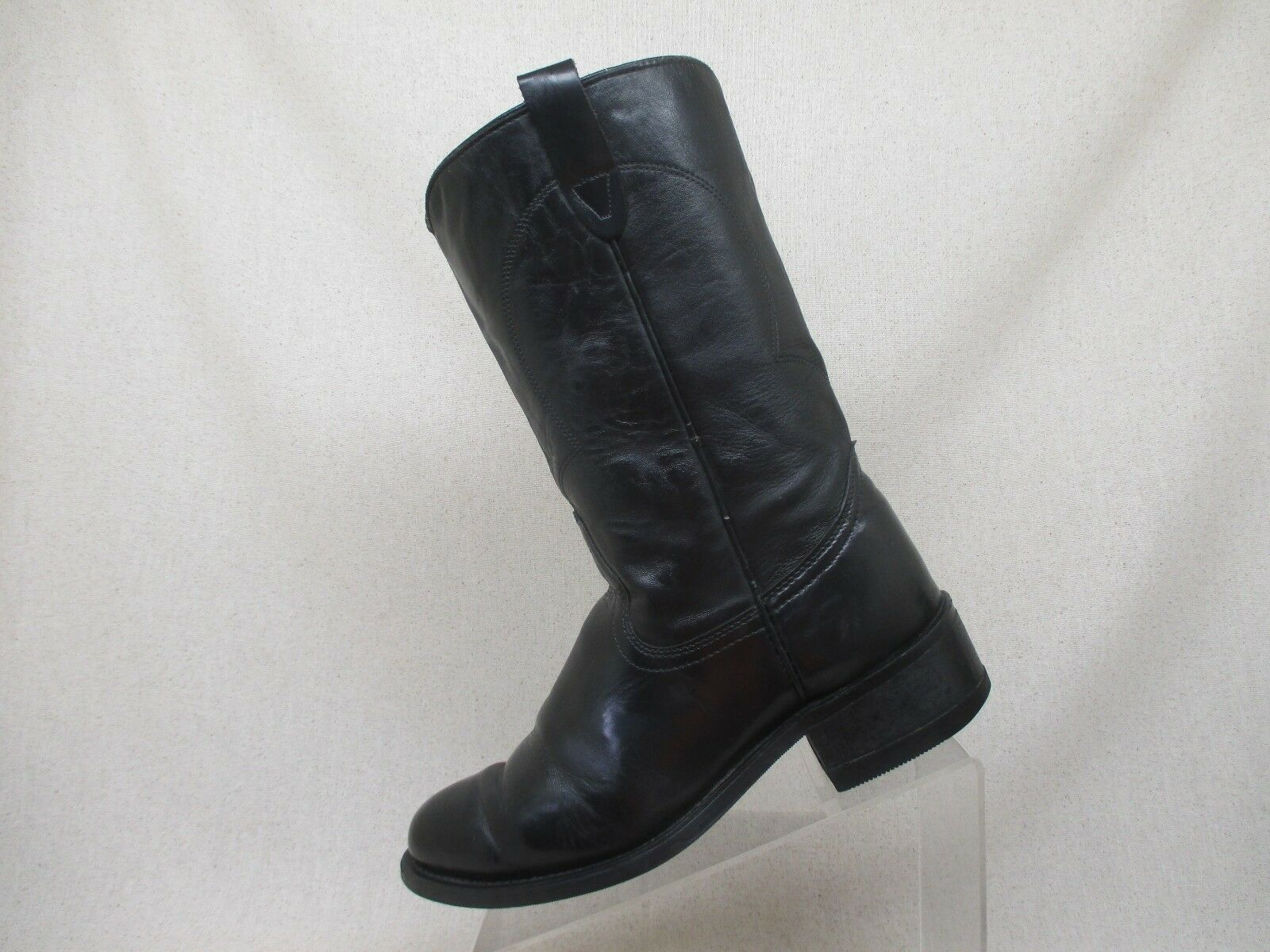 Texas Brand Shiny Black Leather Cowboy Western Work Boots Size 8 D - 8300 USA