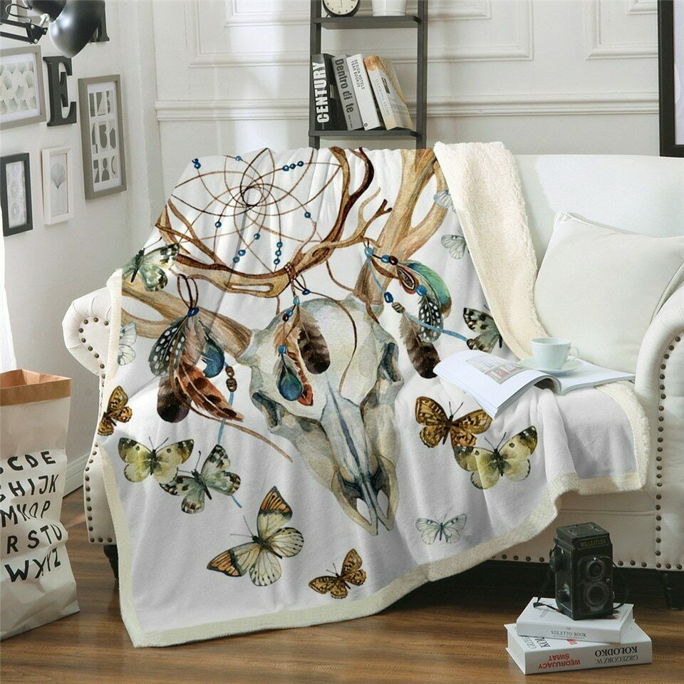 Gothic Dreamcatcher Butterfly Sherpa Plush Throw Blanket Fleece Bed Sofa Couch