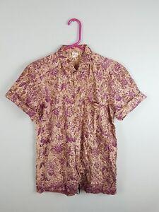 Vintage-Retro-Femme-Floral-Bright-Aztec-audacieux-Crazy-Navajo-Chemise-Hawaienne-Tres-bon-etat-UK-12