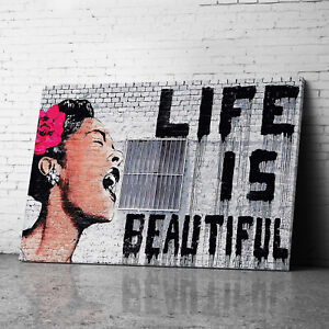 Life is Beautiful Pink Banksy Canvas Wall Art Prints Large Graffiti Pictures