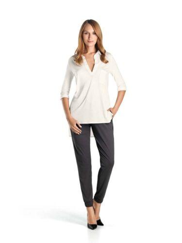 L Gr XS Seide Lyocell Farbe off white Hanro KNIT  Kragen Shirt Serie Silk