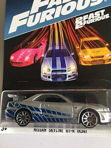 Hotwheels-Nissan-Skyline-GT-R-Fast-and-Furious-2017-US-Brian-039-s-Paul-Walkers-voiture