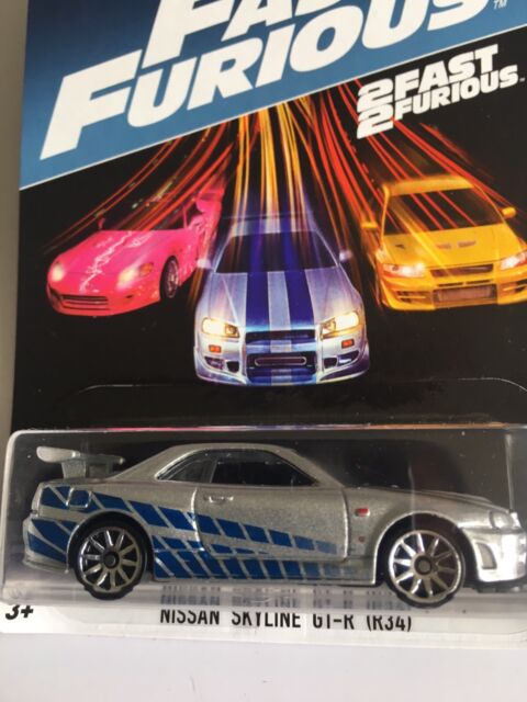Hotwheels Nissan Skyline GT-R Fast and Furious 2017 US Brian's Paul Walkers voiture