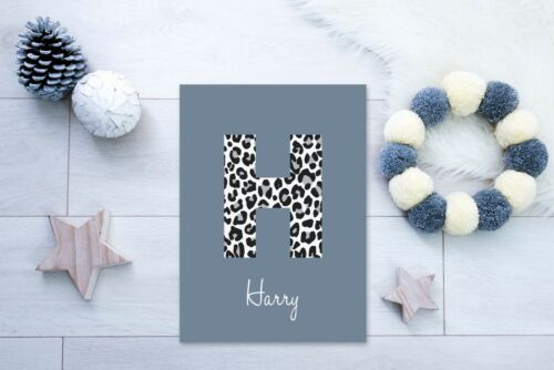 Leopard Initial Name - Personalised Nursery Print Baby Room Dusk /& White