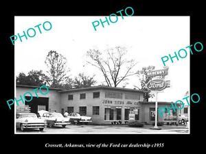 OLD-LARGE-HISTORIC-PHOTO-OF-CROSSETT-ARKANSAS-THE-FORD-CAR-DEALERSHIP-c1955