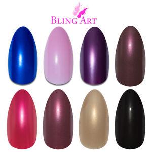 Bling-Art-Almond-False-Nails-Black-Red-Blue-Pink-Purple-Glitter-Fake-Medium-Tips