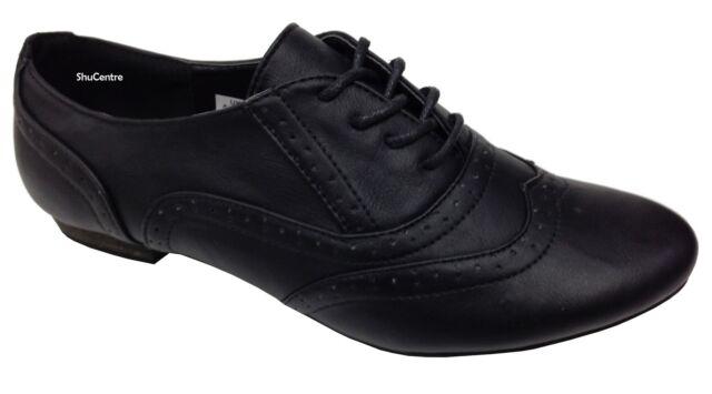 Neuf Filles Noir Chaussures D'École Brogue à Lacets Mode Décontractée Bureau