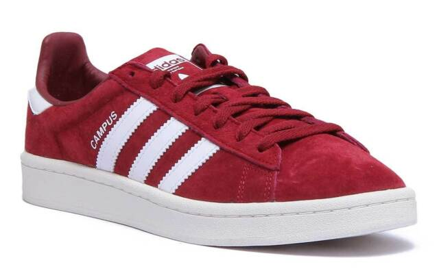 Adidas Campus Mens Suede Leather Lace Up Trainers In Burgundy Size UK 6 - 12