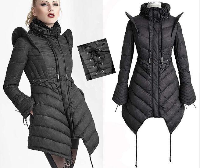 Manteau doudoune cintré gothique lolita cyber épaulettes corset couture PunkRave
