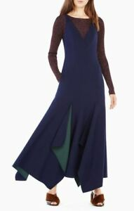 NEW-BCBG-MAX-AZRIA-RUNWAY-LILA-DRESS-DARK-NAVY-PINE-COMBO-SIZE-S-598-00
