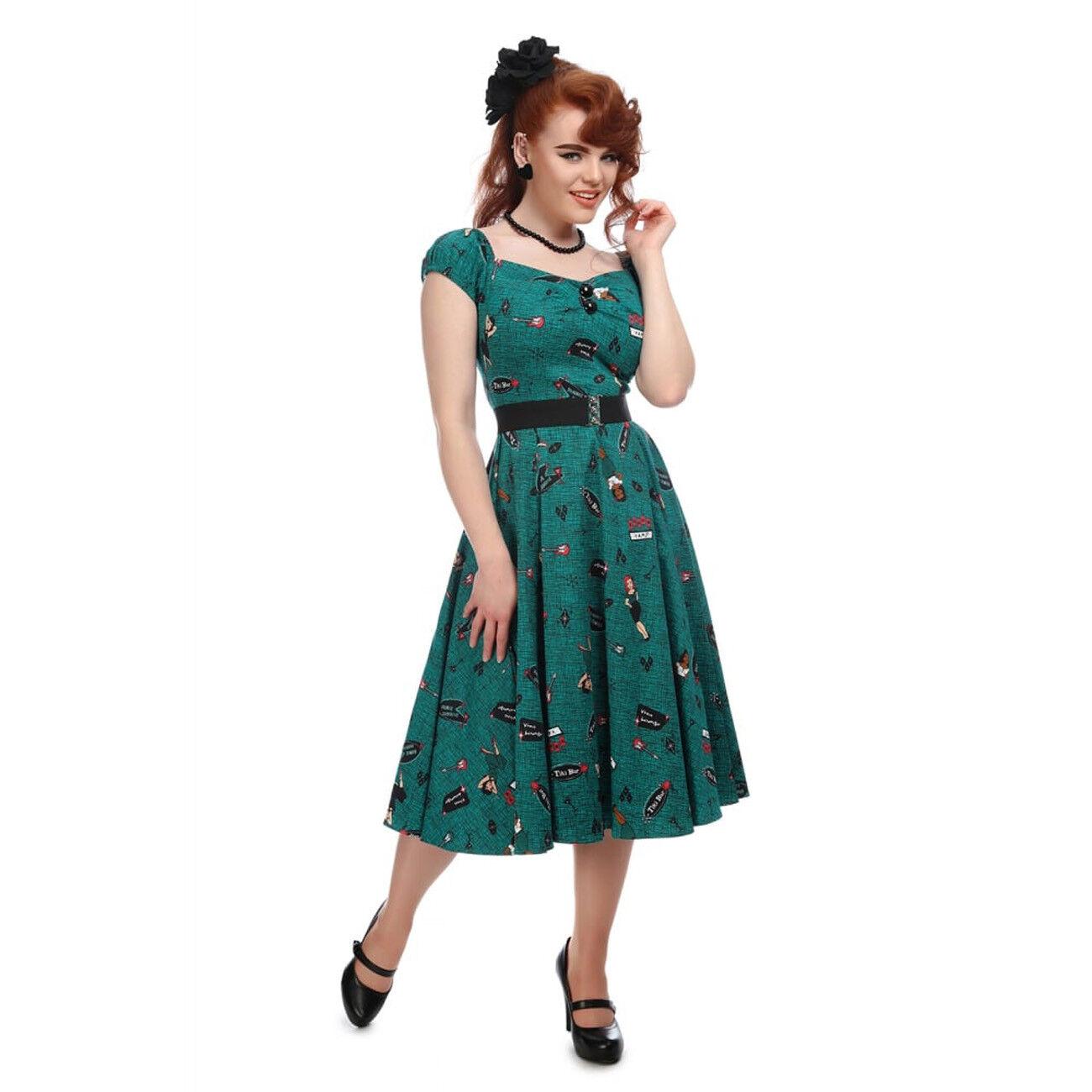 Collectif dolores vintage colore foglia di tè Vegas Vamp Bambola Swing Abito taglia 8-22 1950 S