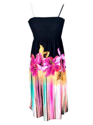 Christina Love 2320 Bandeau Strandkleid Urlaub Freizeitkleid Blumen  A-Linie