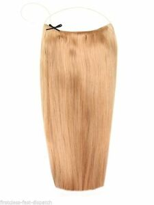 "Light Golden  Brown 16"" Halo London 100% Indian Remy Human Hair Extensions Full"