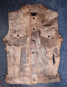 Adult-Phantasm-Tie-Sided-Leather-Levi-Style-Waistcoat-Light-Brown-Distressed-XS