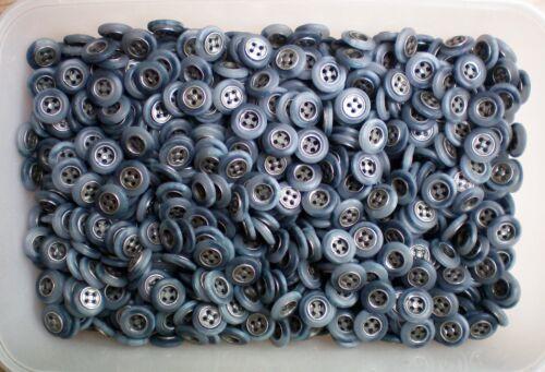 Petit 11 mm 18 l Bleu clair 4 Trous Argent Antique Insert Métallique Chemise Boutons M62