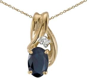 10k-Yellow-Gold-Oval-Sapphire-amp-Diamond-Pendant-Chain-NOT-included-P1861-09