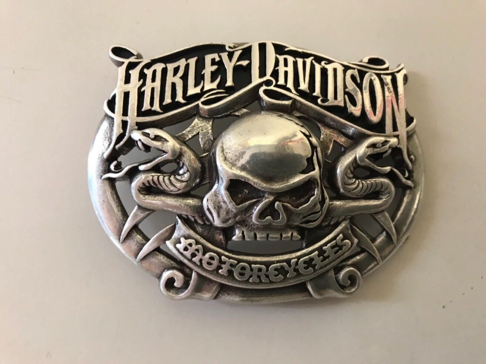 Harley-Davidson rare, men's Skull with Snakes belt buckle .Silver plaited.