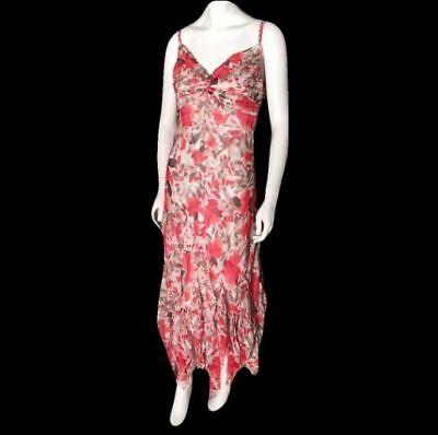 New Sangria Floral Chiffon Handkerchief Hem Maxi Dress 14