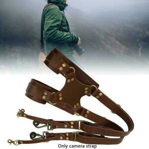 Dual-Harness-Camera-Cross-Shoulder-Leather-Multi-Strap-size-Free-QuickAdjus-B9E0