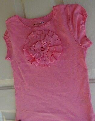 New Garnet Hill Girls Bubble Gum Pink Tee Top Fabric Flower Design SZ Small 4 5