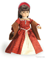 """White Satin Lace Rosette /& Pearls Dress 18/"""" Doll Clothes Fit American Girl"""