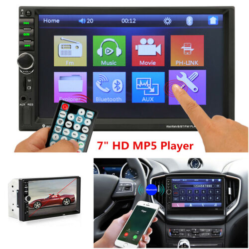 Rear View Camera 7/'/' 2Din Bluetooth Car Stereo Radio MP5 Player FM Touch Screen