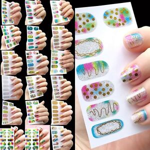 Shinning Glitter Diy Nail Art Stickers Wraps 3d Decals Polish Decals