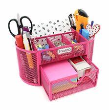 Desk Organizer Mesh Desktop Office Supplies Multi Functional Caddy Pen Pink