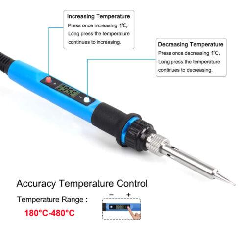 80W LCD Digital Electric Soldering Iron Kit Welding Solder Wire Tweezer Tools