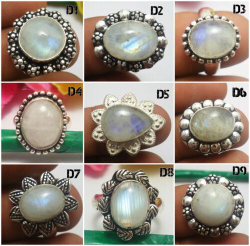 "Rainbow Moonstone Gemstones Ring 925 Silver Overlay Jewelry US Size 6.5/"" U140C"