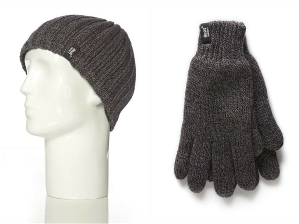 Mens Heat Holder Heatweaver Thermal Winter Warm Hat & Gloves set Charcoal L/XL
