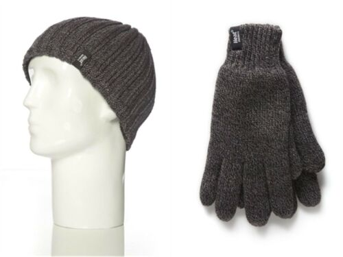 Mens Heat Holder Heatweaver Thermal Winter Warm Hat /& Gloves set Charcoal L//XL