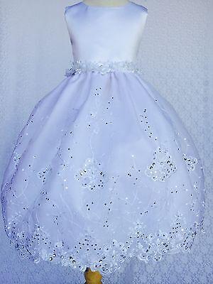Precise White Baptism Communion Christening Flower Girl Bridesmaid Dress Gown Formal