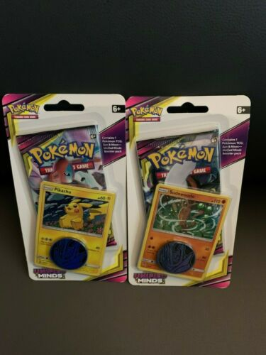 New set of 2 Pokemon Unified Minds Blister Booster Packs w// Promo Cards Coins