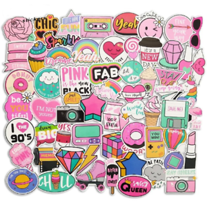 Details About Girl Boss Sticker Bomb Pack Kawaii Pink Hearts Rainbows Aesthetic Laptop Decals