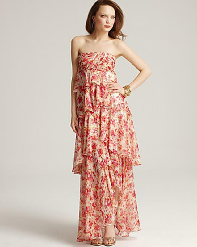 Aqua Strapless Printed Maxi Dress Floral Print Size 6 NWT