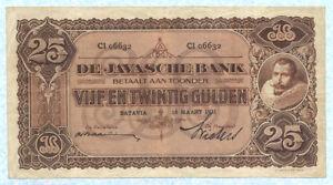 NETHERLANDS-INDIES-25-Gulden-1931-P71c-VF