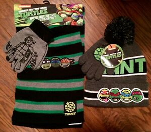 Tortues Ninja Boys Scarf Hat /& Glove Set