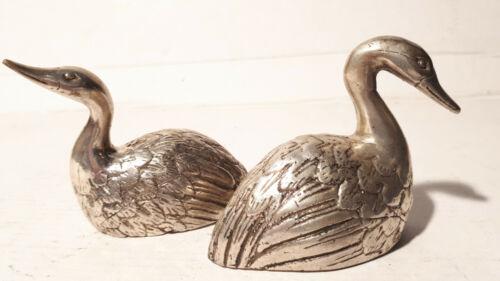 1 Paar Pärchen Schwan Swan Silber Bronze Figur Skulptur Art Deco Stil Jugendstil