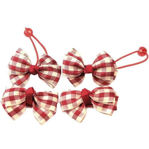 Lovely Plaid 4pcs Kids Girls Ribbon Bow Hair Clip Barrette Hairband Hair Ties