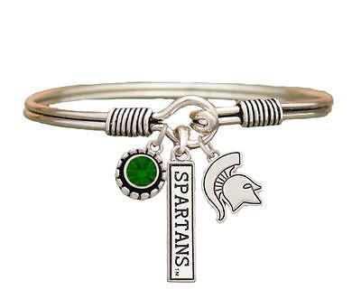 Baylor Bears 3 Charm Green Crystal Silver Wire Bracelet Jewelry Licensed BU