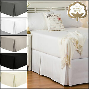 Egyptian-Cotton-200TC-Pleated-Boxed-Base-Valance-Sheets-Single-Double-King-SK