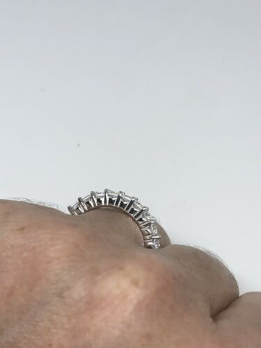 Deco Genuine White Sapphire Vintage 925 Sterling Silver 7 Ring