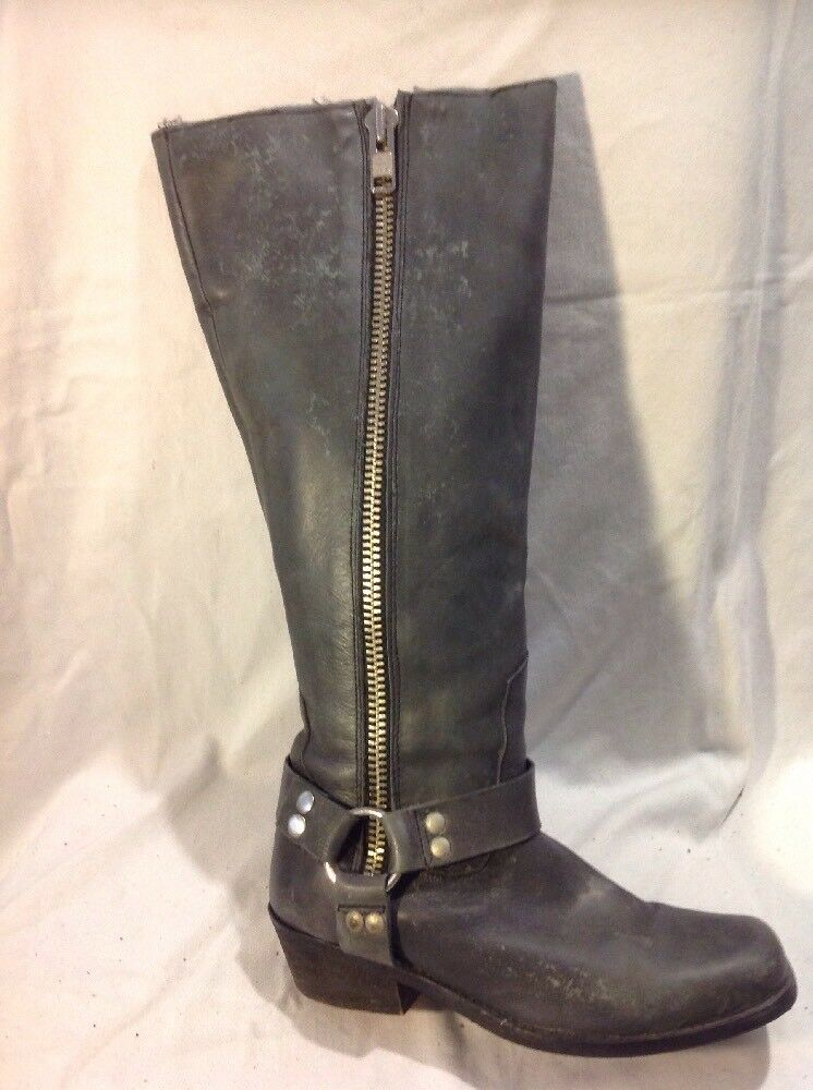 Top Shop Grey Knee High Leather Boots Size 38