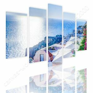 Santorini-Greece-Summer-by-Split-5-Panels-Ready-to-hang-canvas-5-Panels-Wall