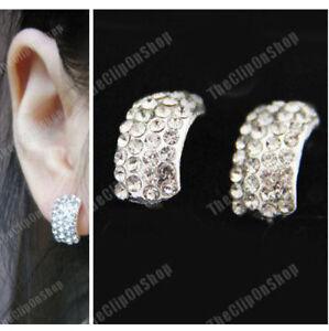 COMFY-U-CLIP-ON-silver-RHINESTONE-earrings-CRYSTAL-huggie-non-pierced-ears-studs