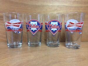 Budweiser Philadelphia Phillies 16 oz. Pint Beer Glass - Set of 4 Glasses - NEW