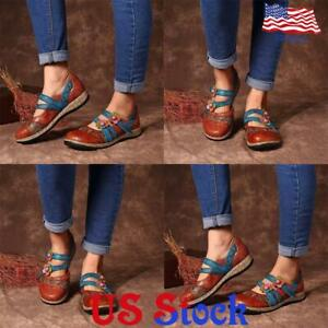 PU-Leather-Round-Toe-Single-Shoes-Women-Casual-Vintage-Flower-Print-Flat-Loafers