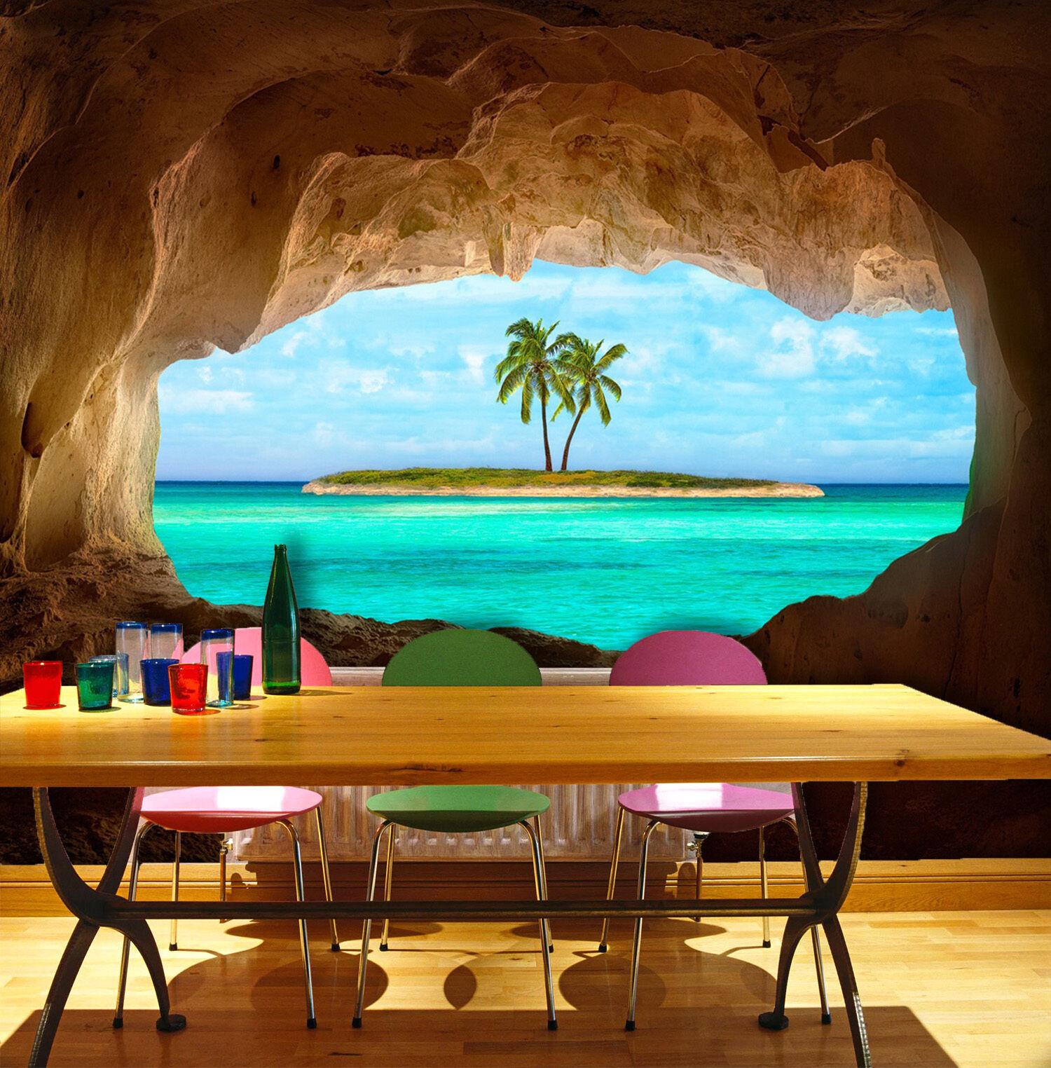 3D Cave Sea Island 1858 Wallpaper Decal Dercor Home Kids Nursery Mural Home